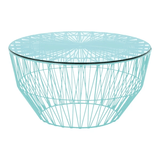 BEND Drum Ottoman Table Aqua Glass Top
