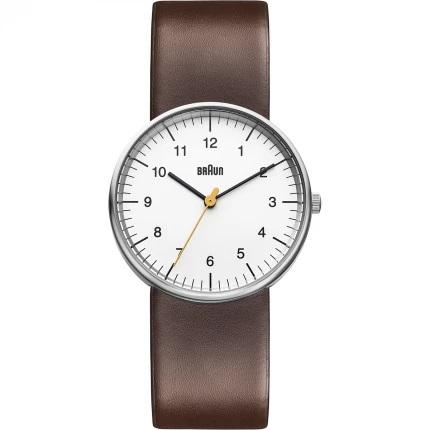 Braun BN-21WHBRG Men's White Dial, Brown Leather Band