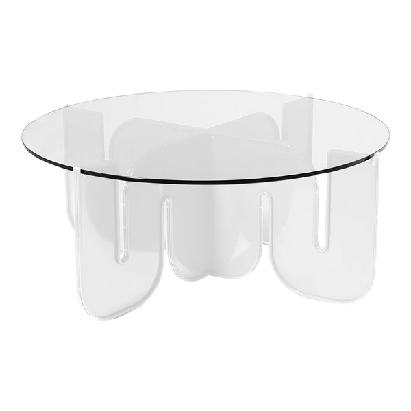 BEND Wave Table White Clear Glass Top
