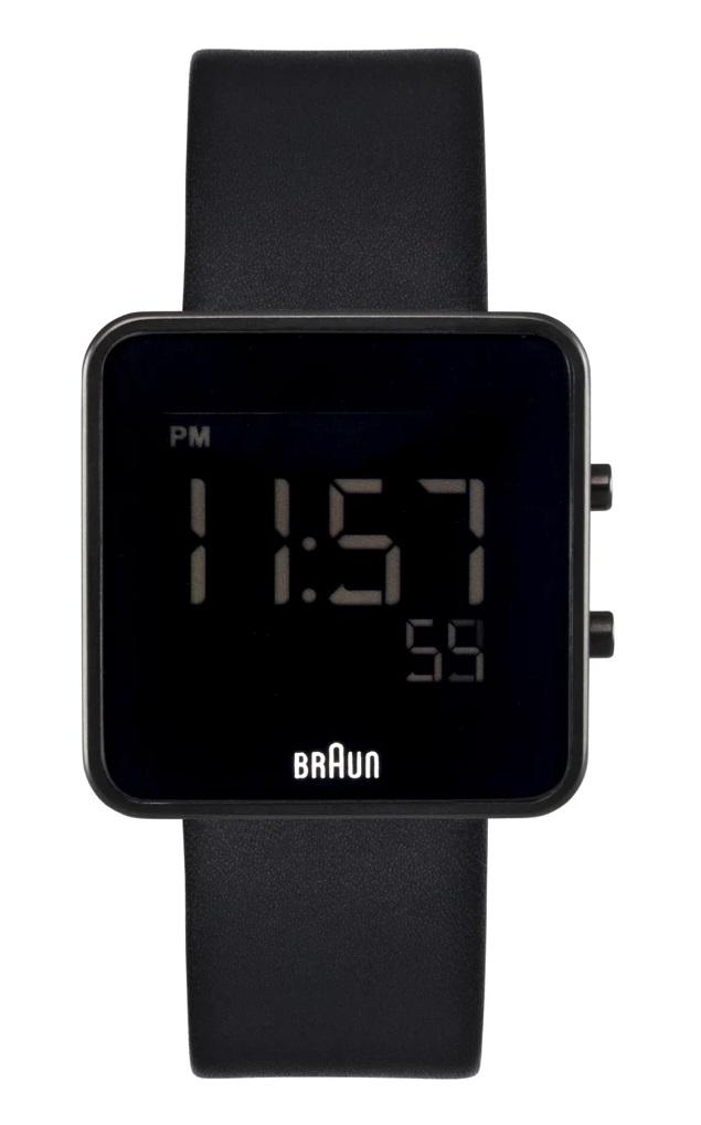 Braun BN-46BK Men's Square Watch, 12/24 hr Digital LCD