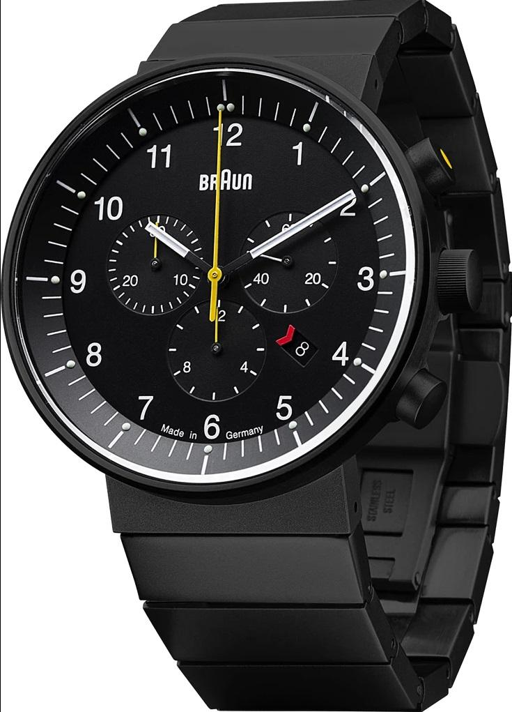 Braun BN-95BKBKBTG Men's Prestige Analog Watch - Swiss Chrono Movement, Black Steel Band