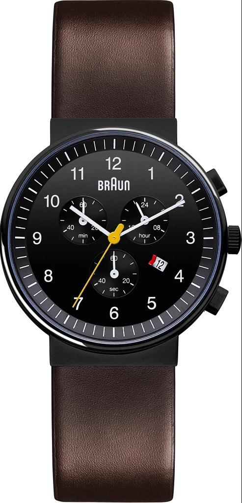 Braun BN-35BKBRG Men's Analog, Chronograph, Black Dial, Brown Leather Band
