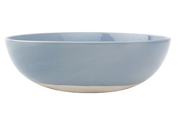 Canvas Home Shell Bisque Round Serving Bowl Blue