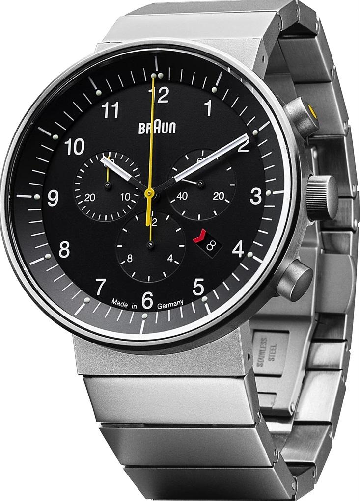 Braun BN-95BKSLBTG Men's Prestige Analog Watch - Swiss Chrono Movement, Stainless Steel Band