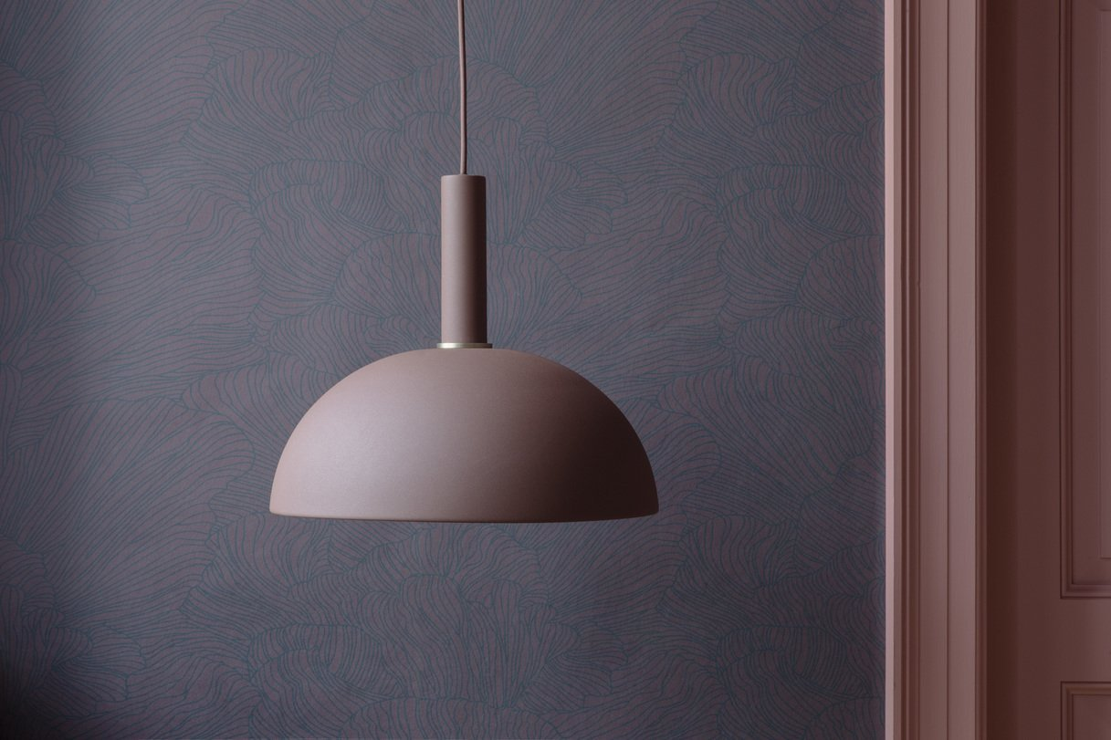 Ferm Living Coral Wallpaper Bordeaux/Dark Blue