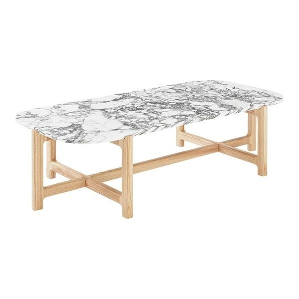 GUS Quarry Rectangular Coffee Table Bianca Marble Ash Natural