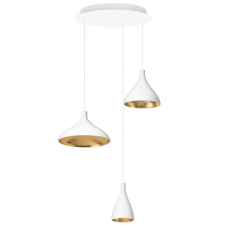 Pablo Swell Chandelier - 3 Black / Brass