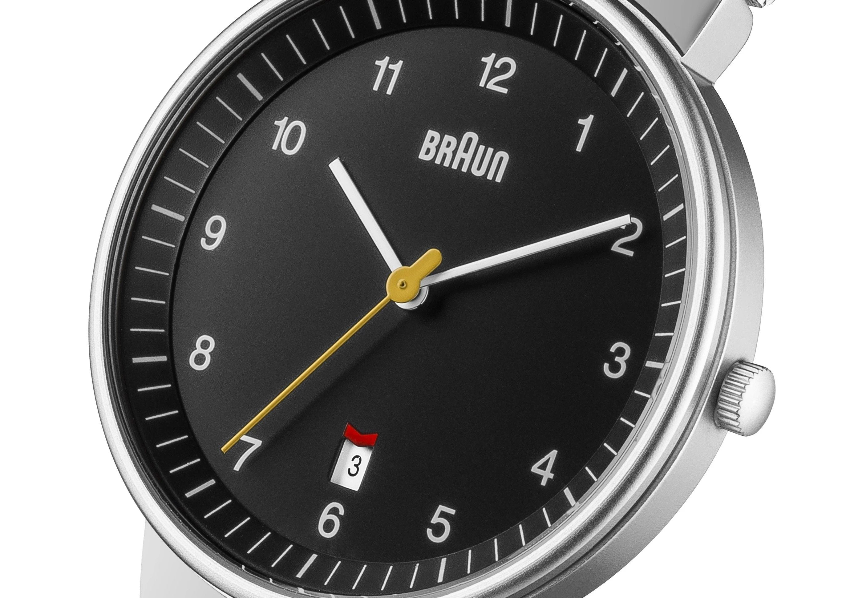 Braun BN-32BKSLMHG Men's Black dial, Stainless Steel Mesh Band, 3 hands with Date