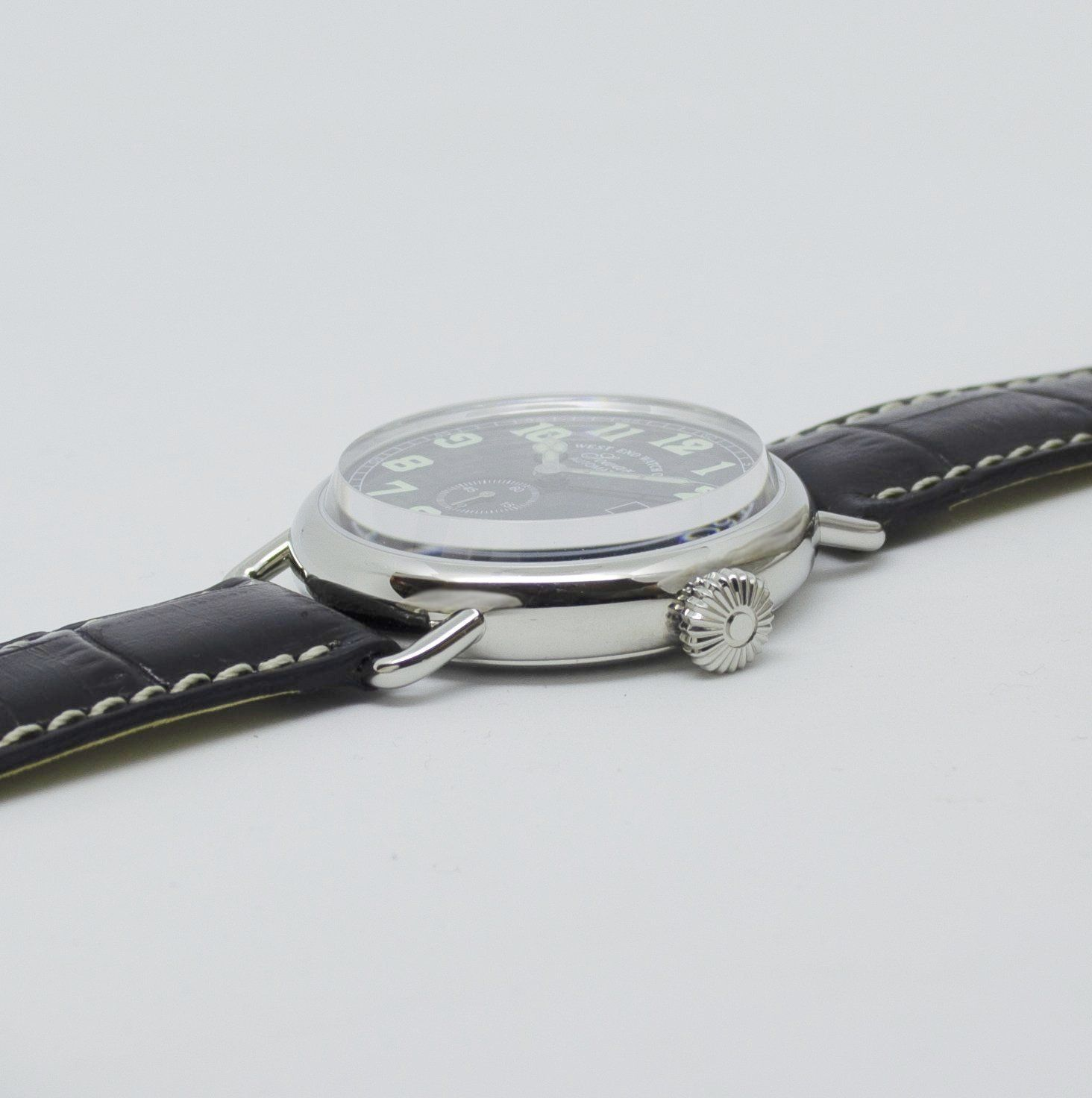 West End Watch Co. Sowar 1916 - Black Dial, Silver Case