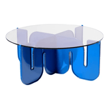 BEND Wave Table Electric Blue Clear Glass Top