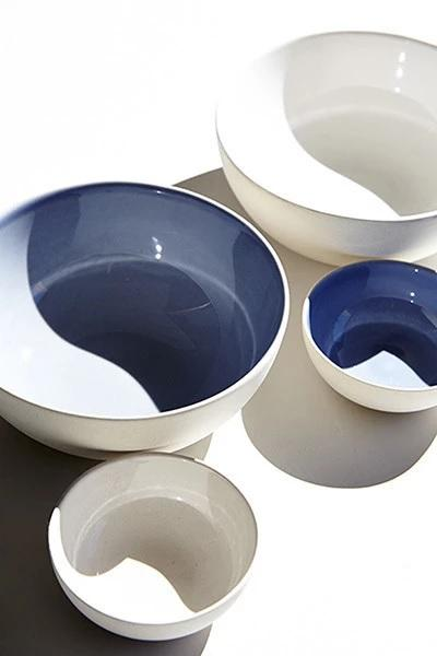 Canvas Home Shell Bisque Small Bowl - Set of 4 Blue