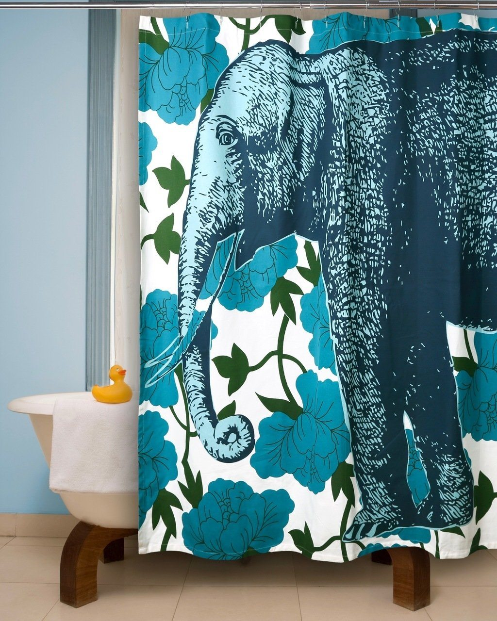 Thomas Paul Elephant Floral Shower Curtain