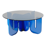 BEND Wave Table Electric Blue Smoke Glass Top