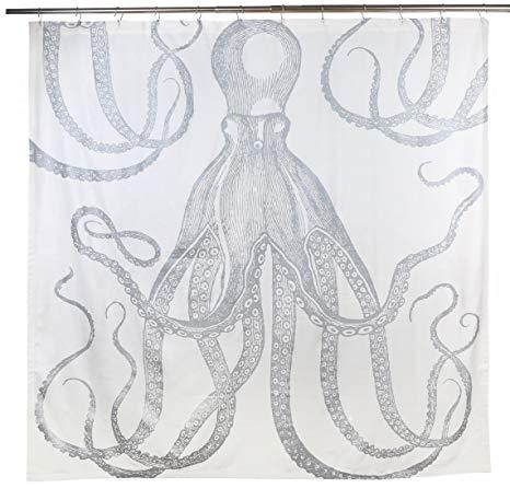 Thomas Paul Octopus Silver Metallic Shower Curtain