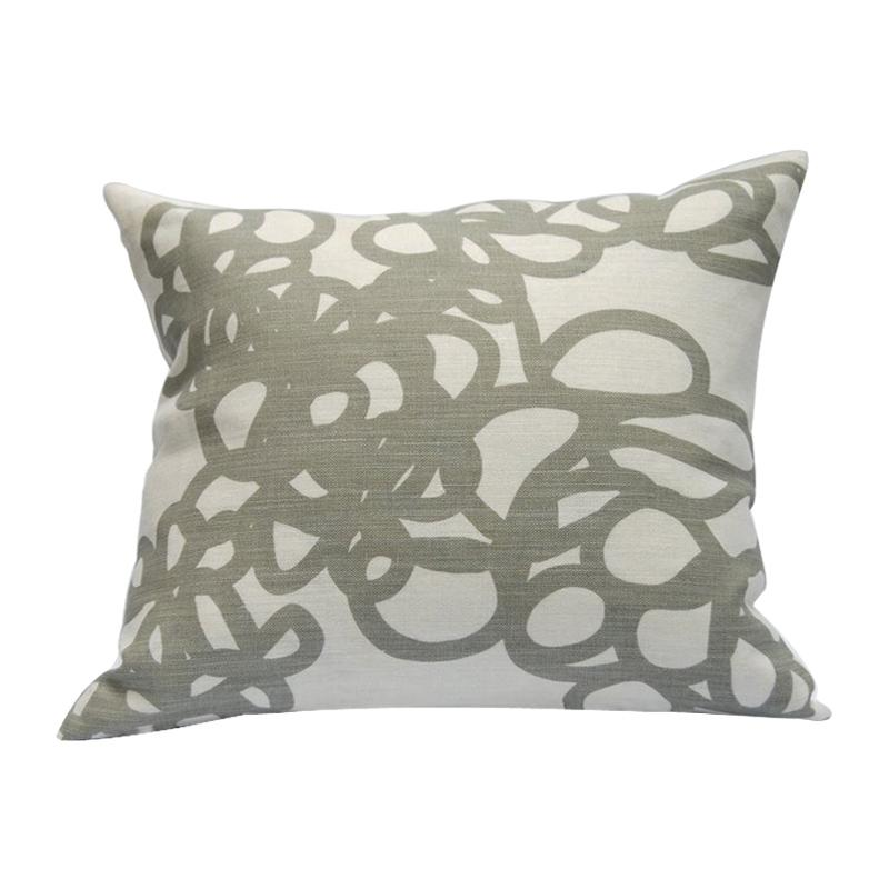 Area Daisy Linen Throw Pillow Grey