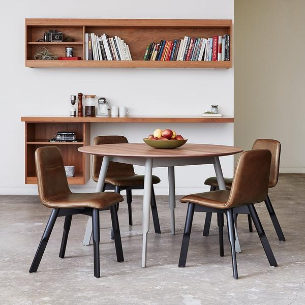 GUS Bracket Dining Table - Round Walnut Grey