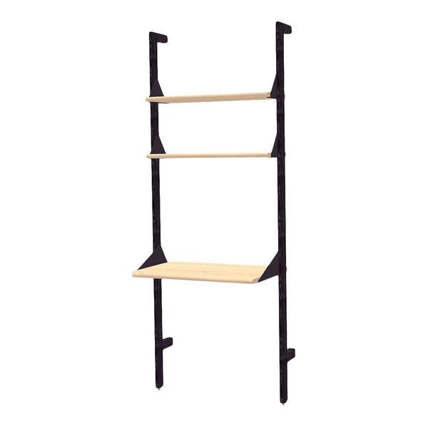 GUS Branch-1 Desk Shelving Unit Upright Ash Black/Brackets Black/Desk Ash Blonde