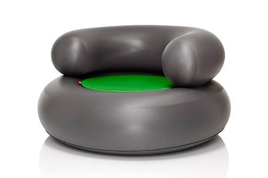 Fatboy CH-AIR - Inflatable Chair Anthracite with Green Pillow