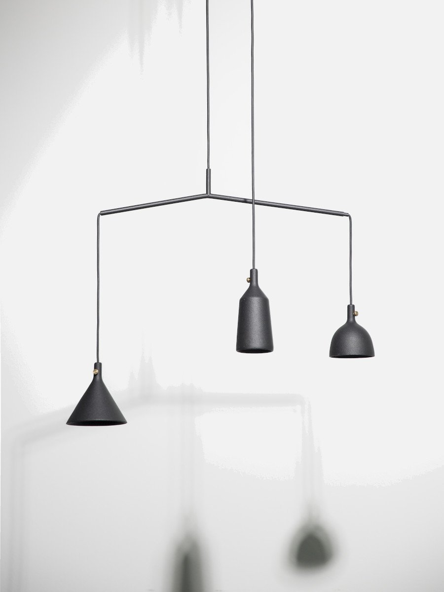 Menu Cast Pendant - Shape 3 Black/Brass