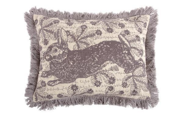 Thomas Paul Bunny Embroidered Pillow Thistle