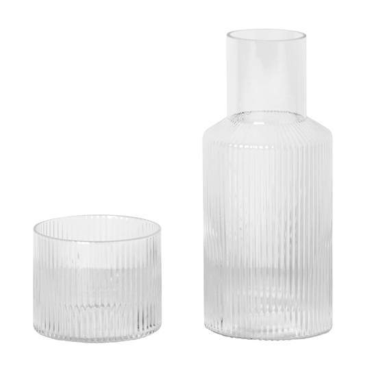 Ferm Living Ripple Carafe Set Smoked Grey Glass