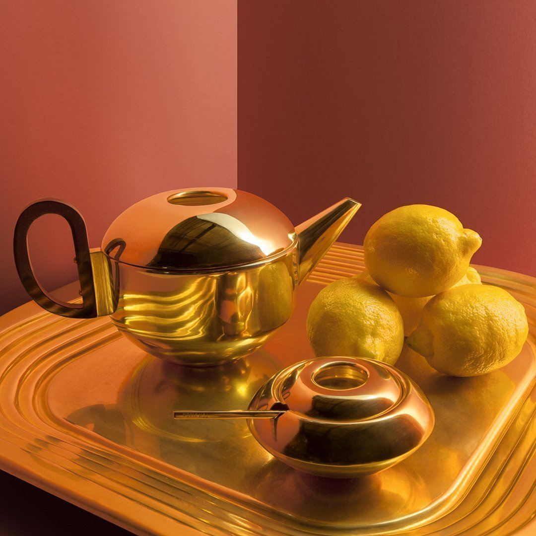 Tom Dixon Form Sugar Bowl and Spoon Gold