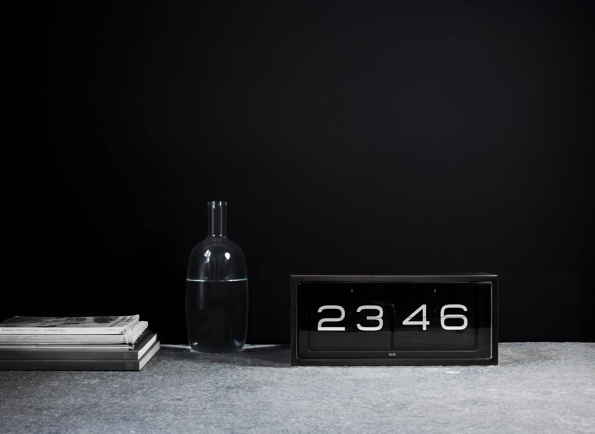 LEFF Amsterdam Wall/Desk Clock - Black Face Stainless Steel