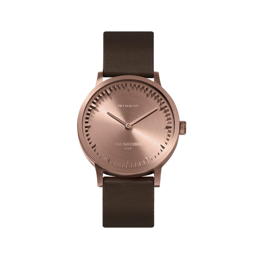 LEFF Amsterdam T32 Watch Steel / Black Leather Strap