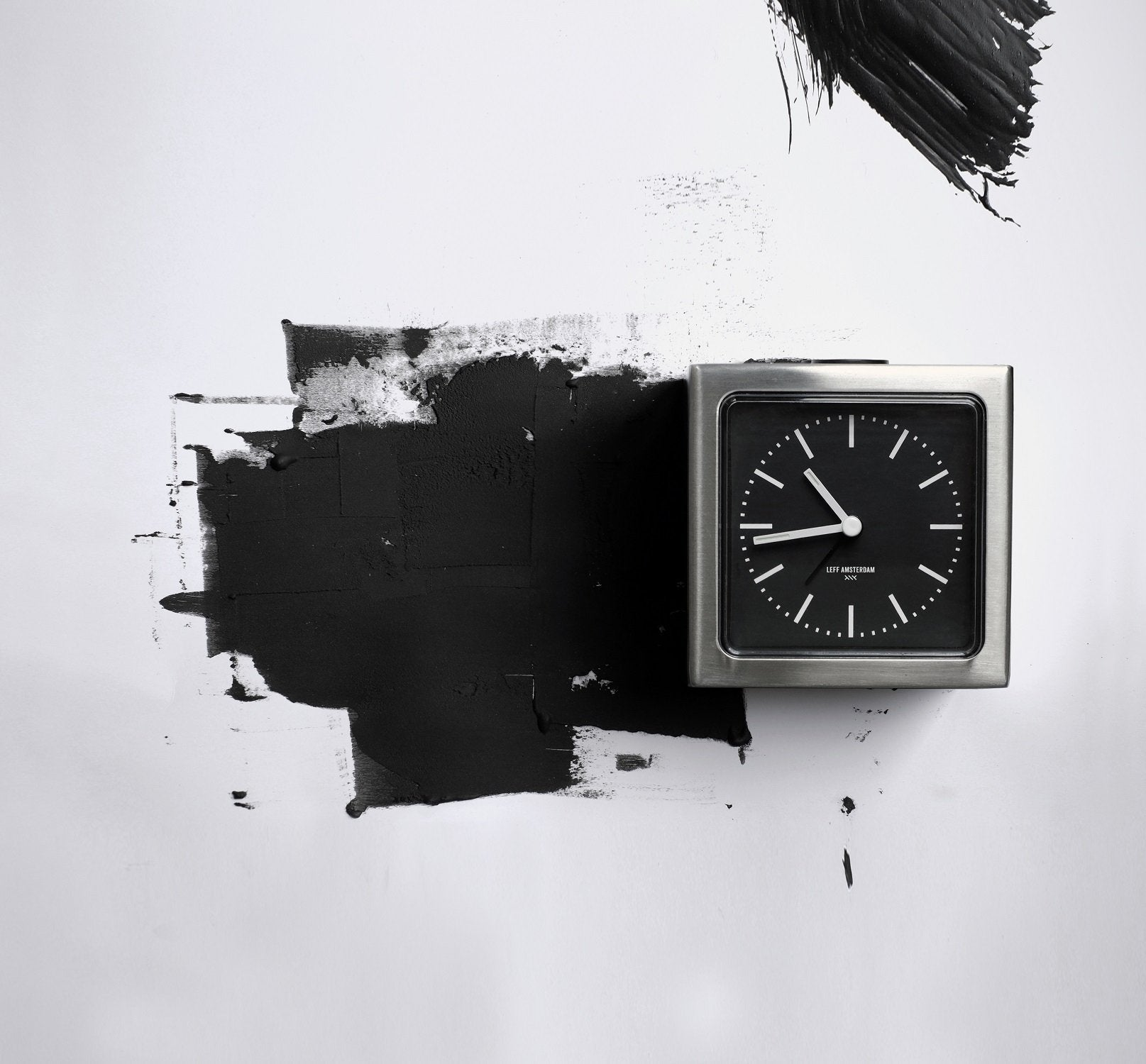 LEFF Amsterdam Brick Index Wall/Desk Clock - Black Face Stainless Steel