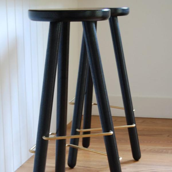 "Another Country Bar Stool One Ash - Black Painted 11.75"" Dia x 15.50"" W x 25.5"" H"