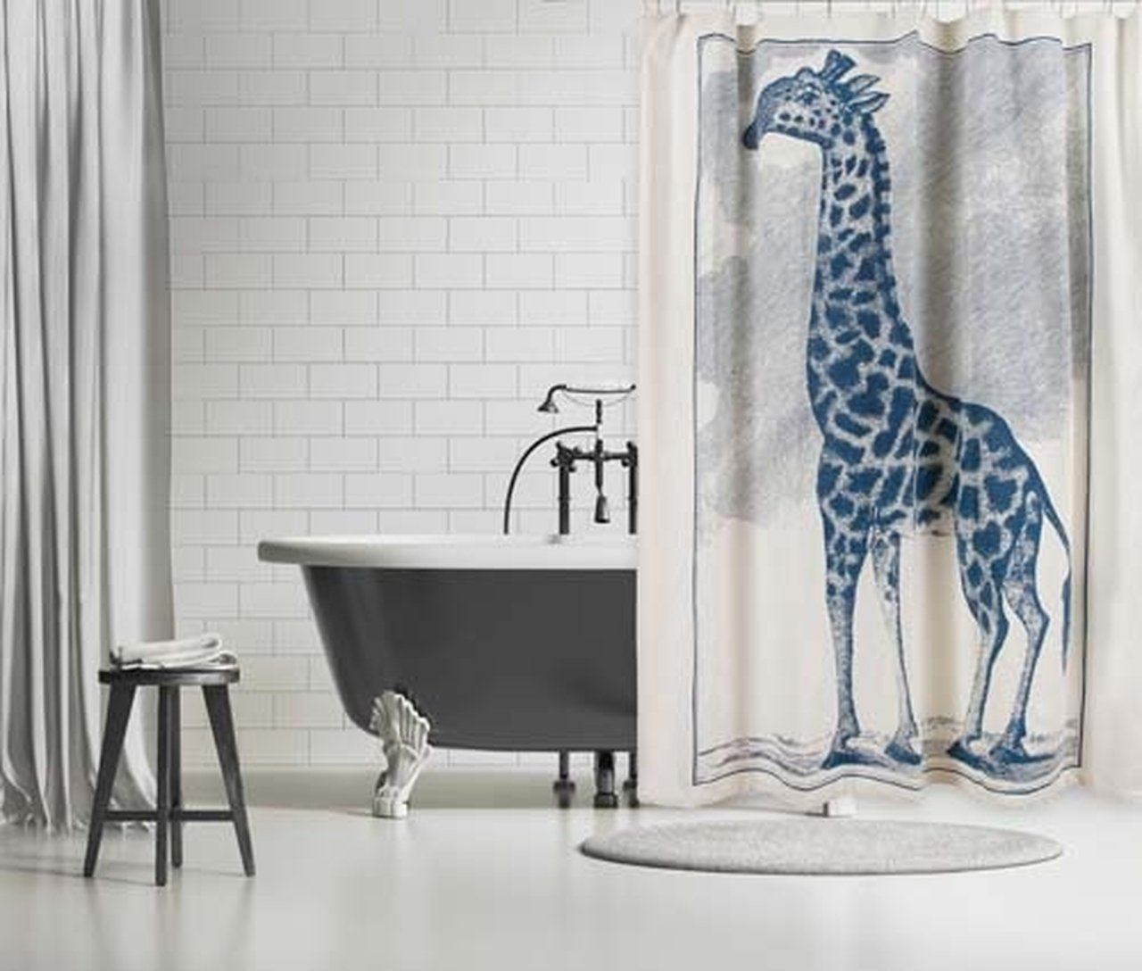 Thomas Paul Giraffe Etching Shower Curtain