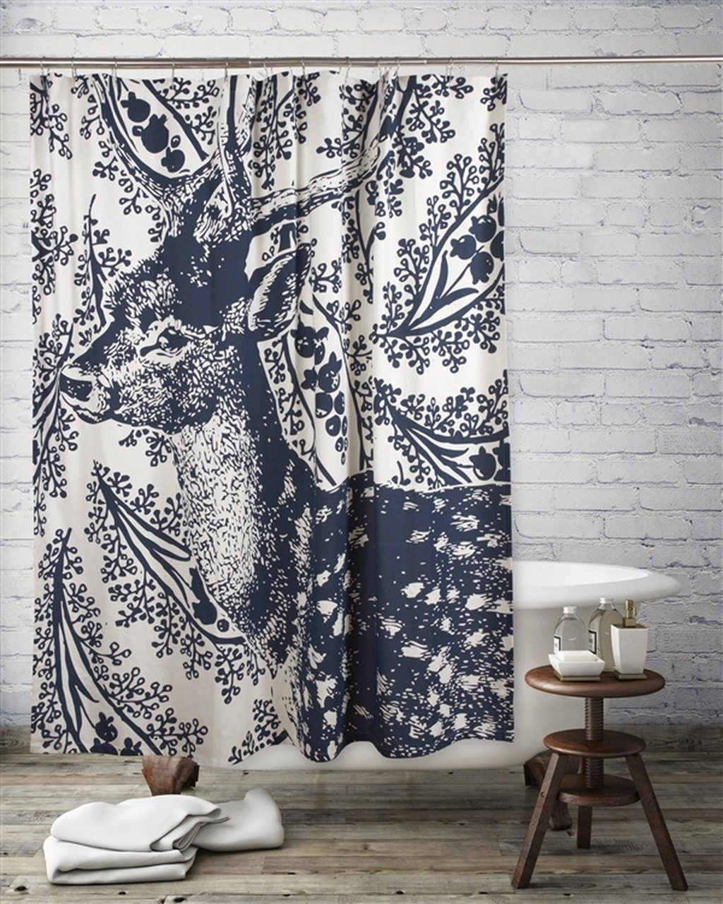 Thomas Paul Deer Transferware Shower Curtain