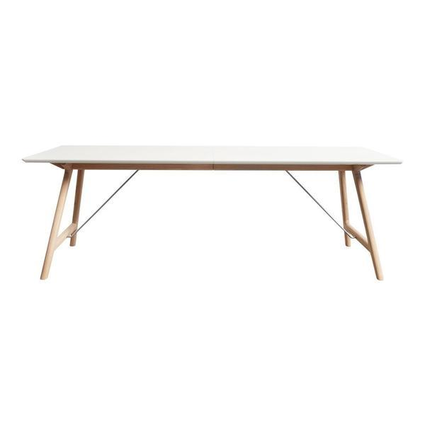 "ANDERSEN T7 Extendable Table 67"" L x 37"" W x 28.5"" H White Laminate Oak - Soap"