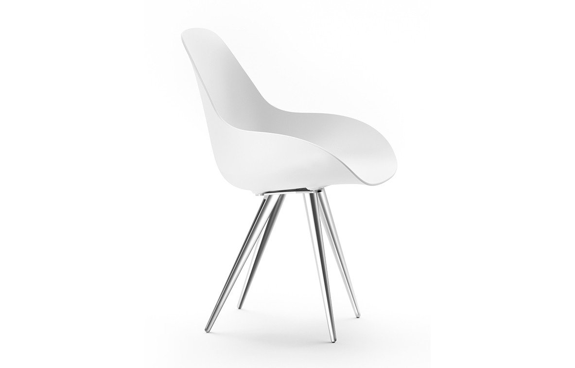 Kubikoff Angel Contract Dimple Closed Chair White Chromium Plated No Seat Pad