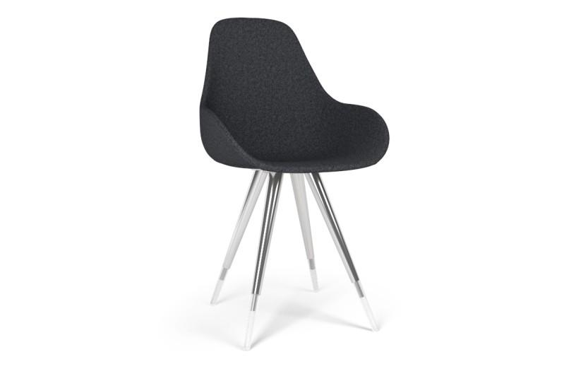 Kubikoff Angel Dimple Pop Chair Grey Wool No Seat Pad
