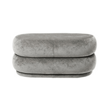 Ferm Living Pouf Oval - Medium Concrete Faded Velvet