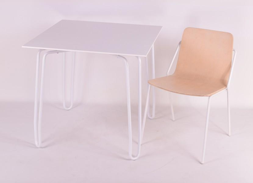 Kubikoff Diamond Contract Table White Powder Coated White Wood