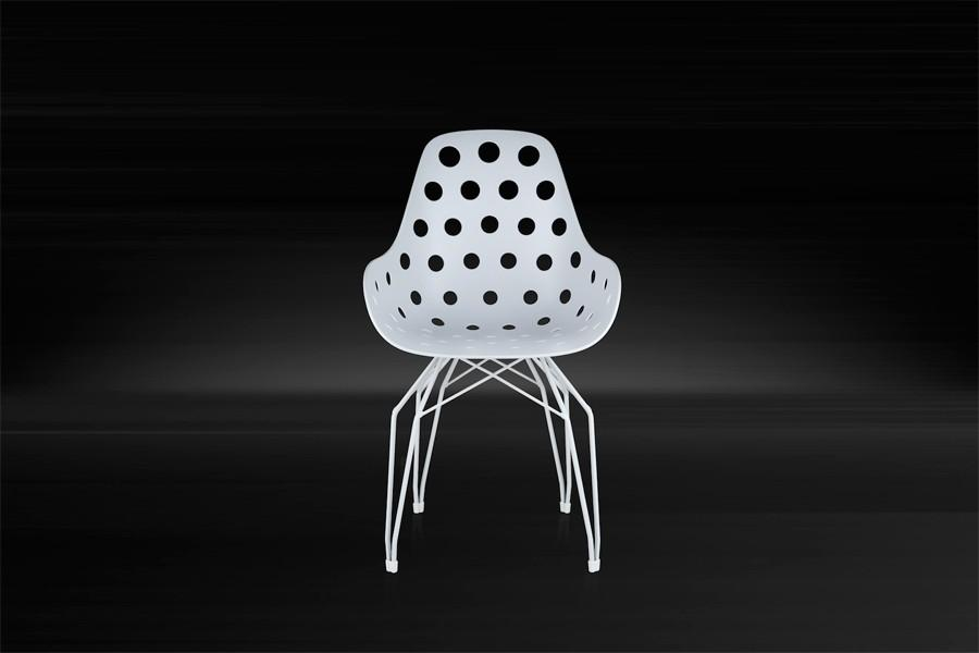 Kubikoff Diamond Dimple Chair White Chromium Plated No Seat Pad
