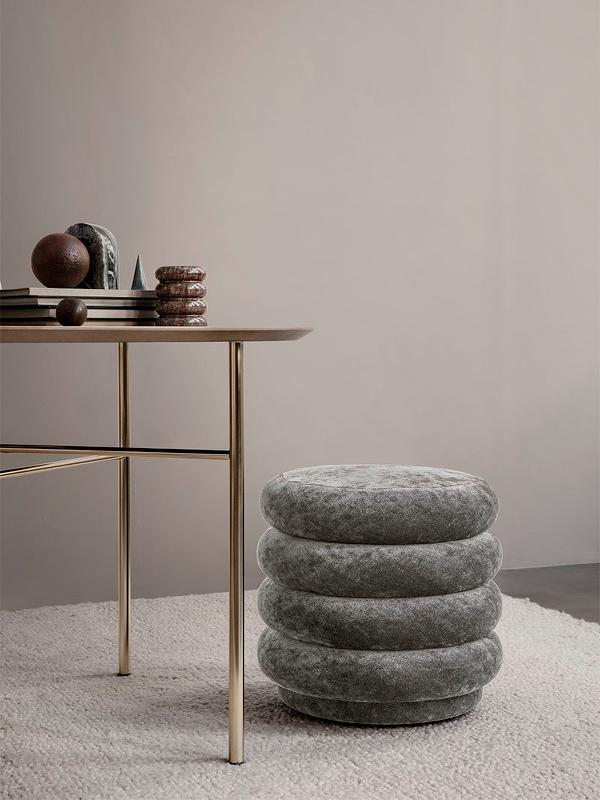 Ferm Living Pouf Round - Small Dark Green