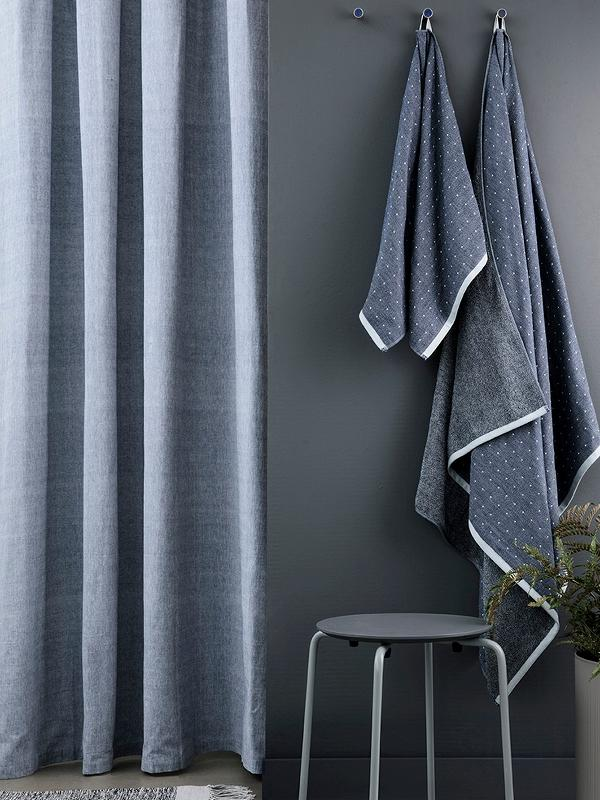Ferm Living Chambray Shower Curtain - Blue