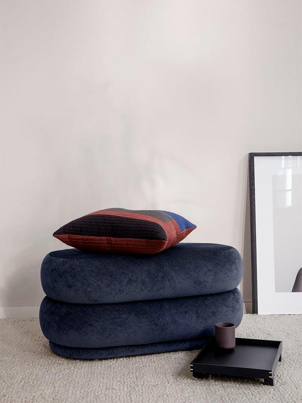 Ferm Living Pouf Oval - Medium Forest Faded Velvet