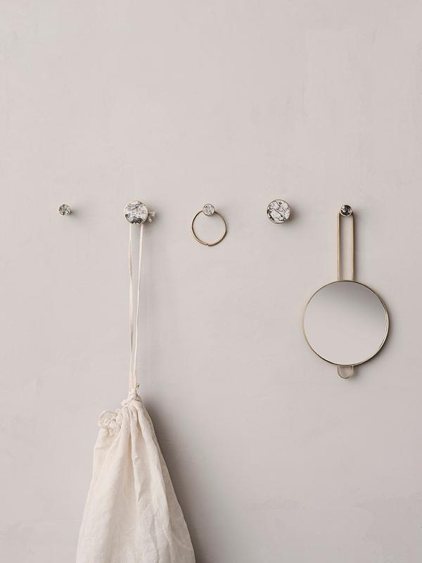 Ferm Living Hook - Brass & Marble | Large Agate moss