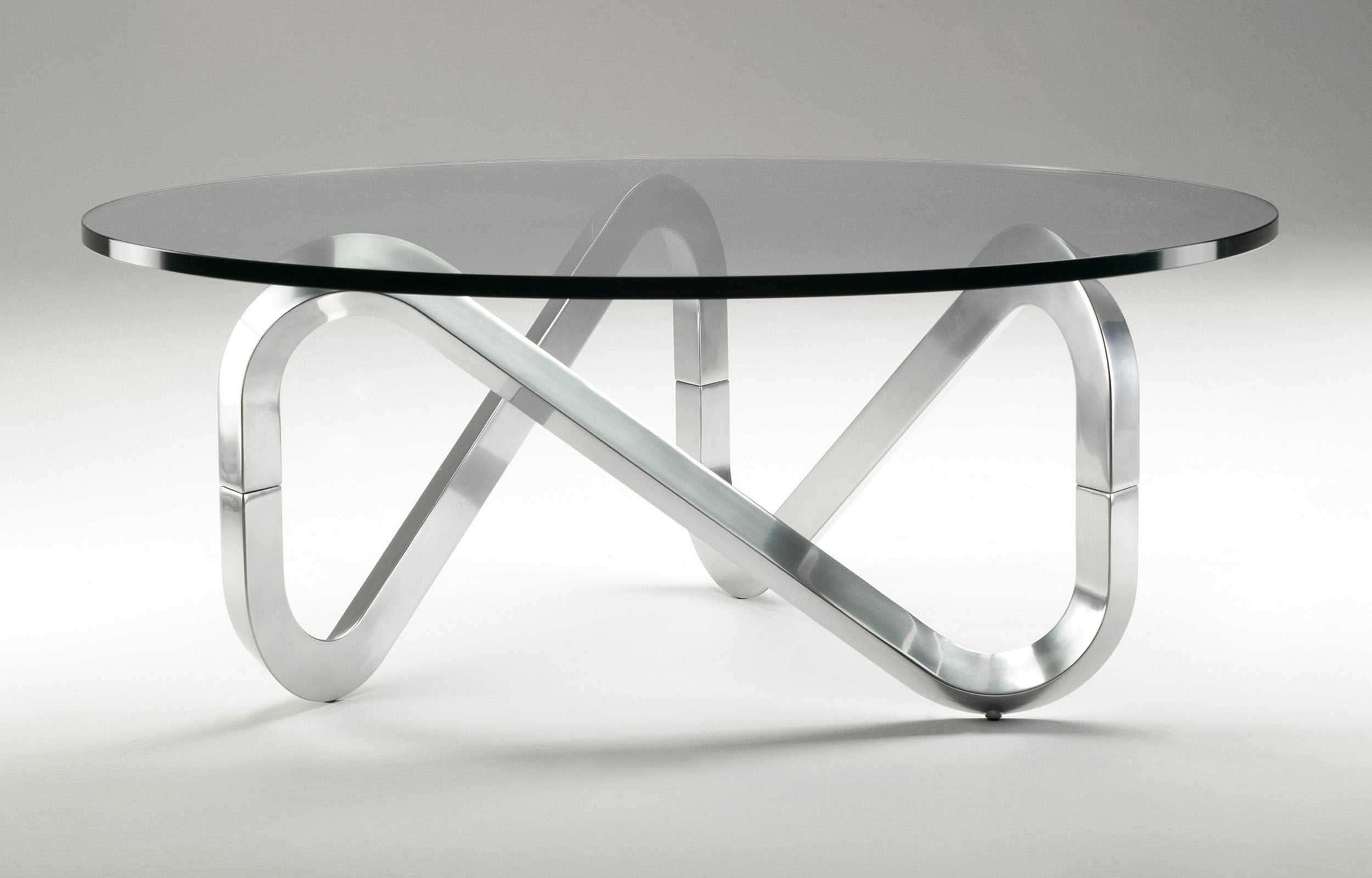 Kubikoff Libra Coffee Table Clear Round Glass Top Natural Ash