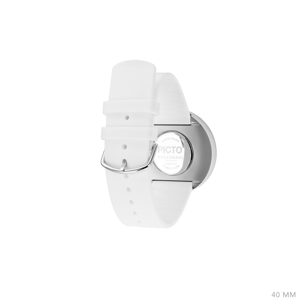 Picto 40mm White - Polished Steel
