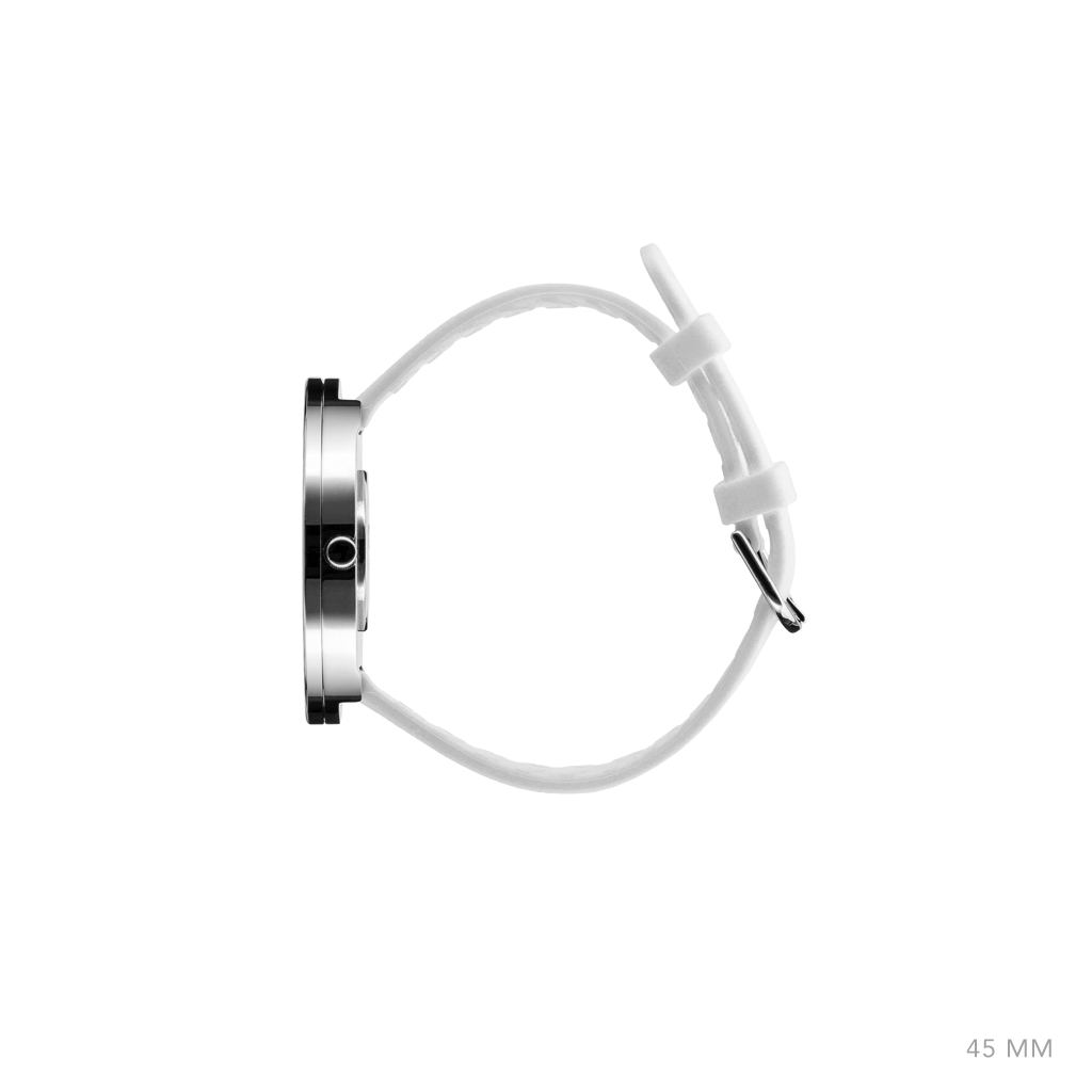 Picto 45mm White - Polished Steel