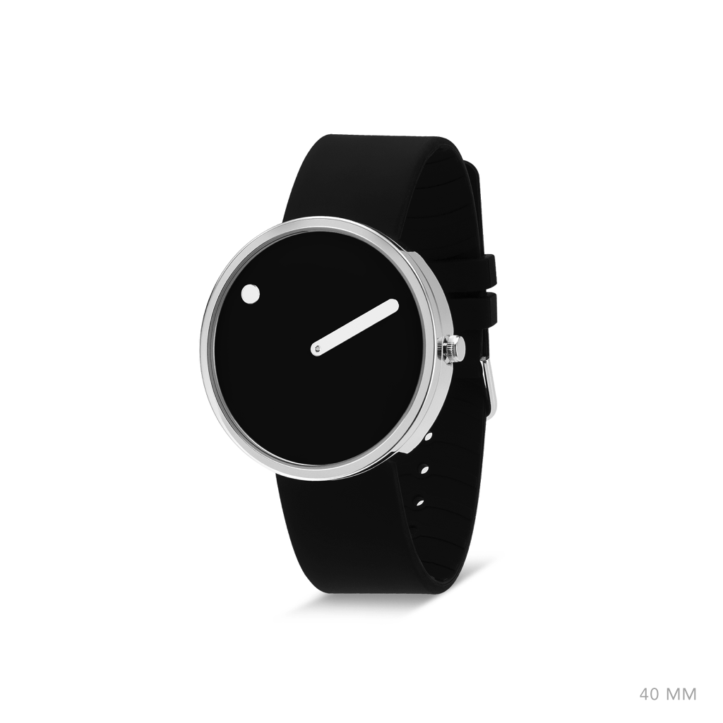 Picto 40mm Black - Polished Steel