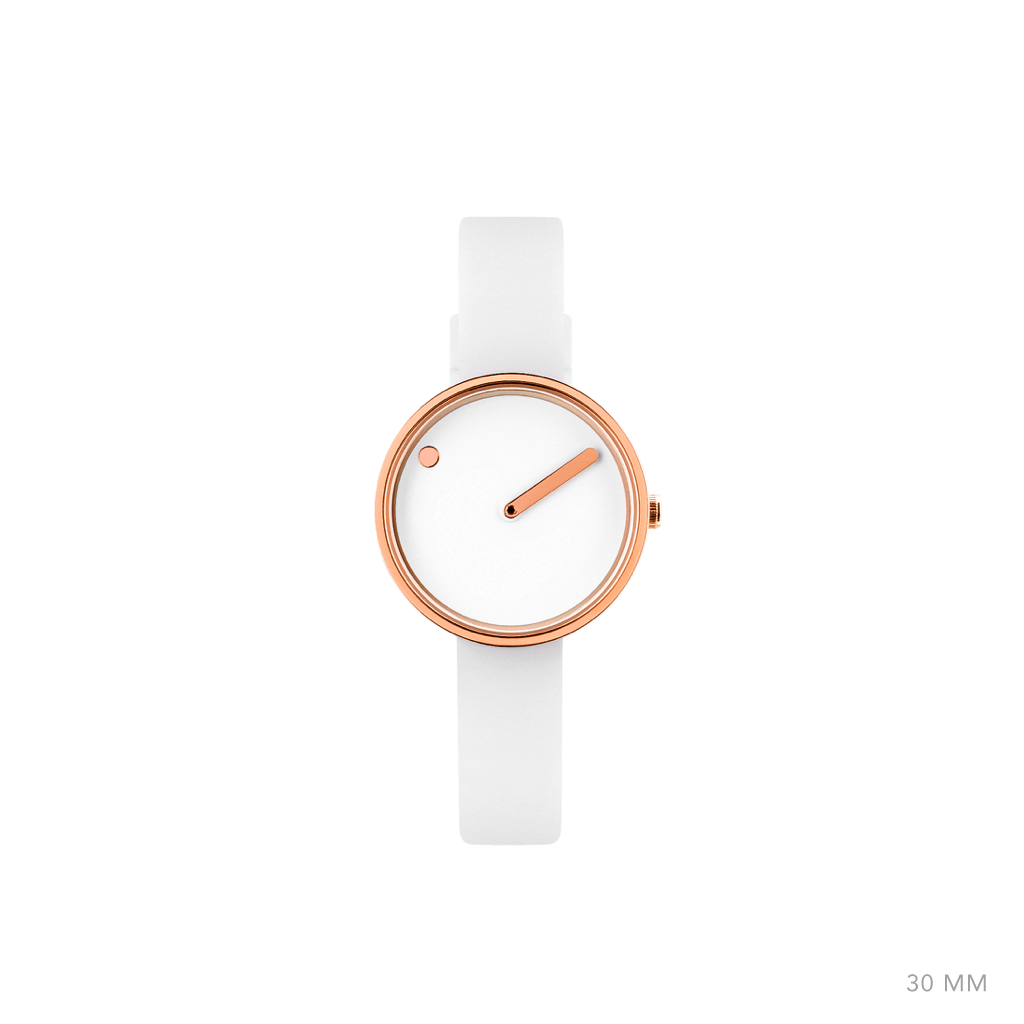 Picto 30mm White - Polished Rose Gold