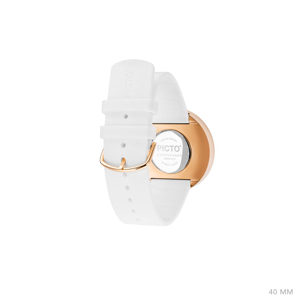 Picto 40mm White - Polished Rose Gold