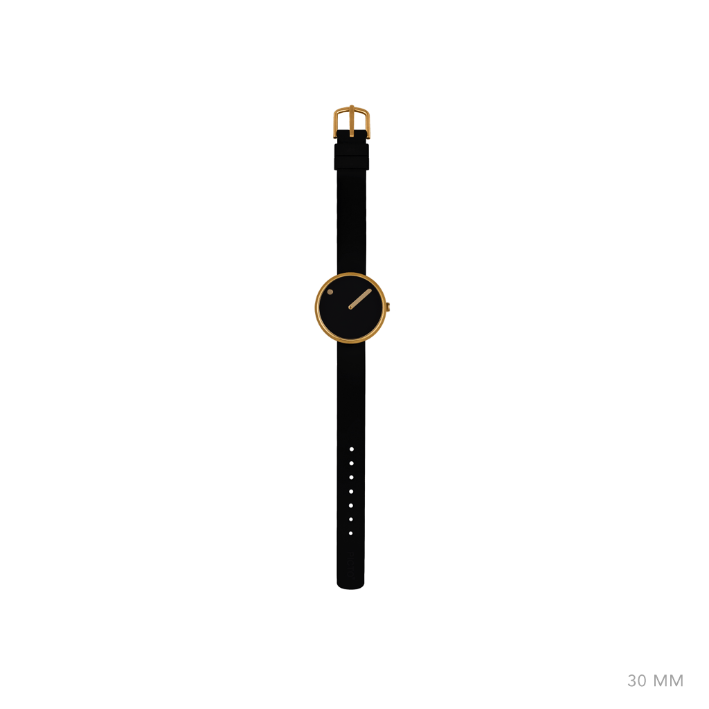 Picto 30mm Black - Polished Rose Gold