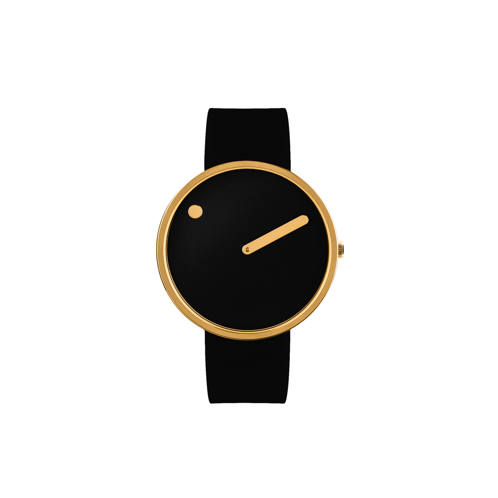Picto 40mm Black - Polished Rose Gold